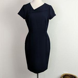 Tahari ASL Envelope Collar Sheath Dress Navy Blue